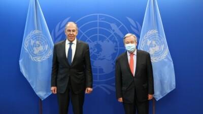 غوتيريش يبحث مع لافروف الأوضاع في سورية
