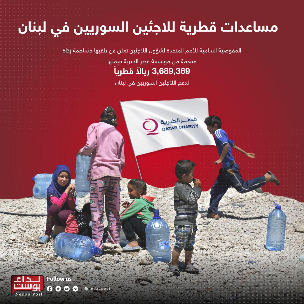 مساعدات قطرية للاجئين السوريين في لبنان