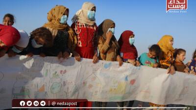 """""""رسائل السلام"""" نشاط ترفيهي لإيصال رسائل أطفال الخيام"""